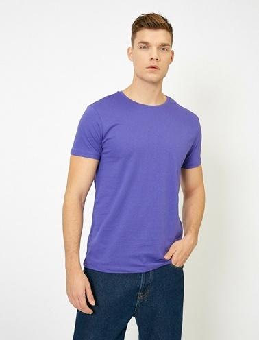 Koton Kisa Kollu Yuvarlak Yaka %100 Pamuk T-Shirt Mor